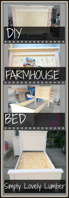 Simply Lovely Lumber DIY Farmhouse Bed complete with pictures of the building pr. - Simply Lovely Lumber DIY Farmhouse Bed complete with pictures of the building process! Bed Furniture, Furniture Projects, Furniture Plans, Home Projects, Farmhouse Style Bedding, Farmhouse Bed, Farmhouse Frames, Farmhouse Furniture, Country Look