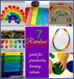 7 Rainbow Busy Bags for Kids! Great for fine motor skills!