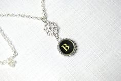Typewriter Key Initial Necklace Handmade Vintage by JustWearThese, $18.00