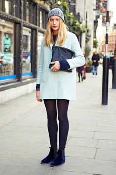A simple coat looks extra chic in pale blue #streetstyle