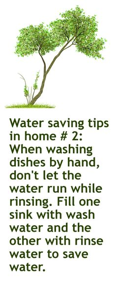 January 30th. 2013 Green idea #30 When washing dishes by hand, don't let the water run while rinsing. Fill one sink with wash water and the other with rinse water to save water.