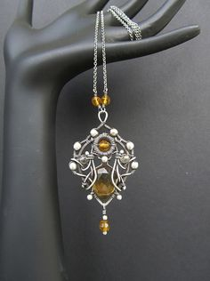 yellow black silver necklace wire wrapped citrine by AnnieJewelry, $110.00
