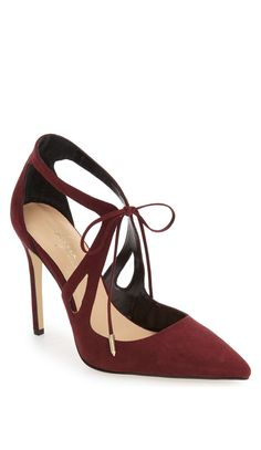 Burgundy cut out pumps