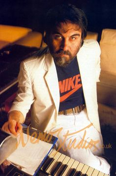 Vangelis at his synthesiser set-up in the live room shortly after the studio's renovation in 1983.