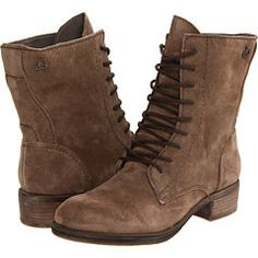 Flat mid-calf lace-up boots - suede