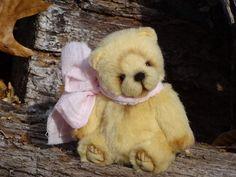 Light Yellow Fur Artist Teddy bear. Stuffed by FeltSilkArtGift