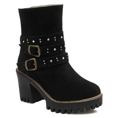 Double Buckle Suede Rhinestones Boots #>=#>=#>=#>=#> Click on the pin to check out discount price, color, size, shipping, etc. Save and like it!
