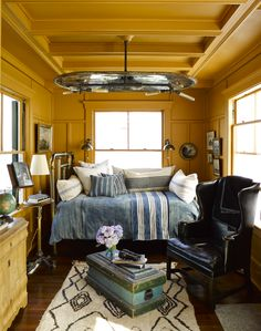 ochre walls and ceiling (Cape Cod style, Ken Fulk)
