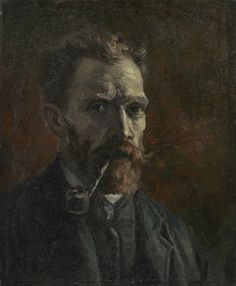 Self-Portrait with Pipe, 1886, Vincent van Gogh.