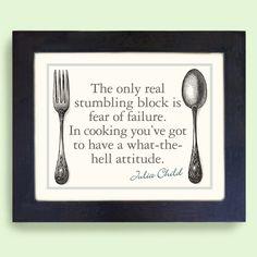 Kitchen Art Print Julia Child Cooking Quote Framed Art Print. $35.00, via Etsy.