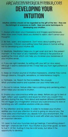 Developing intuition