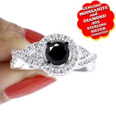 "2.00 Ct Black Moissanite & Genuine Diamond 14K Gold Halo Engagement Wedding Ring ""Mother\'s Day Gift"". Starting at $89"