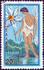 Greek Stamp of Narcissus and the Narcissus flower Ancient Greek Religion, Narcissus Flower, Daffodil Flower, Flower Stamp, Vintage Stamps, Fauna, Stamp Collecting, Greek Mythology, Illustration Art