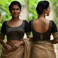 Latest blouse designs in trend this year - Jeetu kumar - Medium Best Picture For sari blouse designs Blouse Back Neck Designs, Black Blouse Designs, Brocade Blouse Designs, Brocade Blouses, Designer Blouse Patterns, Bridal Blouse Designs, Black Saree Blouse, Latest Saree Blouse, Saris