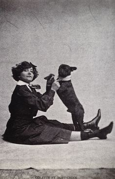 French Courtesan Colette and her French Bulldog 'Toby'.
