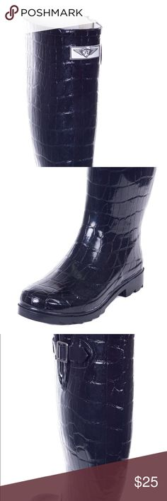 Simple Extra Wide Calf Rubber Navy Blue Rain Boots For WomenWidest Fit Boots