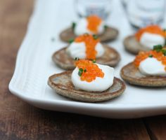 Mini Blini w. creme fraiche and caviar