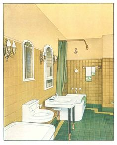 """Colored bathroom from """"The Color Book""""  c. 1920s."""