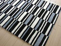 modernrugs.com black white blue striped sheepskin modern rug