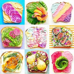 It's normal to spend 20 minutes creating a collage of toast photos, right? @cosmopolitan did a story on me and my work as a food stylist & photographer + all the info on colorful unicorn toast! Check it out: link in bio  #toasttherainbow #toast #abmlifeiscolorful #acolorstory