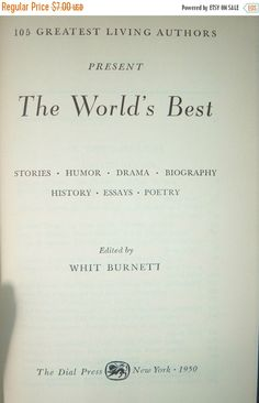 The World's Best edited by Whit Burnett 1950 by DivaDecades