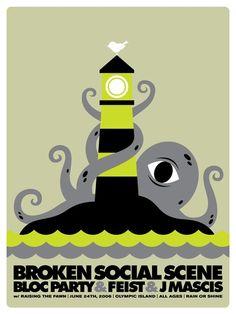 Broken Social Scene - gig poster - Doublenaut