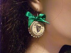 Guinness bottle cap earrings. $9,00, via Etsy.
