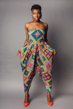 African Print Strapless Bianca Harem Jumpsuit