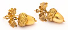 Victorian Mighty Petite Golden Acorn Earrings | From a unique collection of vintage dangle earrings at http://www.1stdibs.com/jewelry/earrings/dangle-earrings/