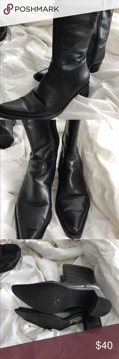 Steve Madden boot This is a cowboy style boot. They are very stylish all leather mid calf boot. These were only wore a couple of times. Steve Madden Shoes Heeled Boots