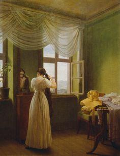 """""""Vor dem Spiegel"""" (1827) von Georg Friedrich Kersting (geboren am 31. Oktober 1785 in Güstrow, gestorben am 1. Juli 1847 in Meißen), deutscher Maler."""