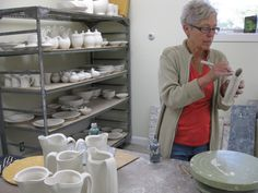 Silvie Granatelli working in her studio in Meadows of Dan, Virginia. Silvie was featured in the working potter focus in the June/July/August 2008 issue of Ceramics Monthly. http://ceramicartsdaily.org/ceramics-monthly/ceramics-monthly-2008-junejulyaugust/