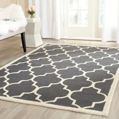 Safavieh Handmade Moroccan Cambridge Dark Grey/ Ivory Wool Rug (6' Square) - Overstock™ Shopping - Great Deals on Safavieh Round/Oval/Square