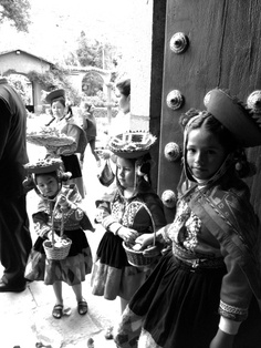 Peruvian children with typical clothing