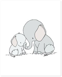 Elephant Mama and Baby -- You Are Mine -- by Sweet Melody Designs