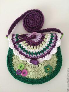 Купить Сумочка-кошелек детская вязаная Сирень - тёмно-фиолетовый, абстрактный, сумочка ручной работы