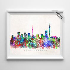 Inkist Prints offers unique art prints and posters at great prices! Check our vivid yet mellow Johannesburg South Africa skyline watercolor print, suitable for your home or office! Watercolor Artwork, Watercolor Print, Johannesburg Skyline, Typography Prints, Dorm Decorations, Wall Art Prints, South Africa, Click Photo, Posters