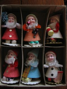 Vintage - Shiny Brite Elves Still bring these out every year Old Fashioned Christmas, Antique Christmas, Christmas Past, Vintage Christmas Ornaments, Retro Christmas, Vintage Holiday, Christmas Holidays, Christmas Crafts, Christmas Decorations