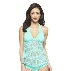 Aqua Green Crochet Inset Halter Tankini Swim Top - Mossimo