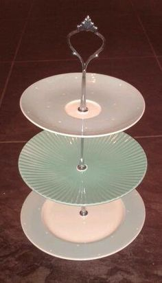 Recycling mis-matched / vintage plates u0026 saucers to make a pretty and unique cake & Tiered plate stand - DIY Simple project takes about an hour of ...