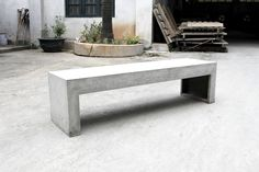 Concrete bench minimalist and brutalist design by Lyon Béton