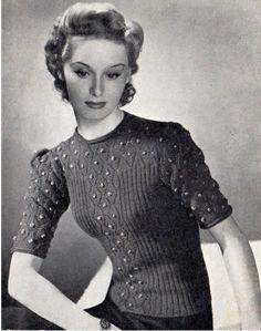 Free 1940's Knitting - Women's Bobble Jumper Pattern