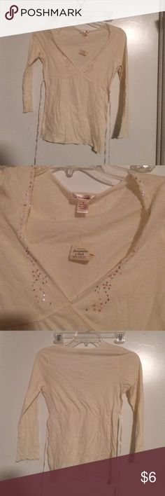 NWT Abercrombie & Fitch cream Sequin Top S New with tags Abercrombie & Fitch Tops