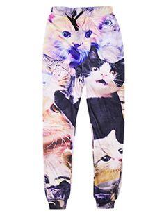 56f069e729b7d2 RAISEVERN Unisex 3d Funny Cats Print Casual Sports Jogging Pants Trousers