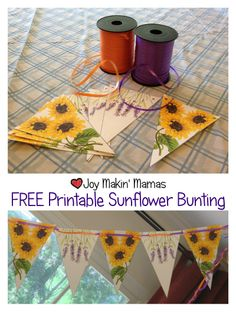 Free printable #sunflower theme bunting party decoration.