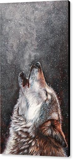 Wolf Canvas Print featuring the painting Every Breath I Take by Peter Williams