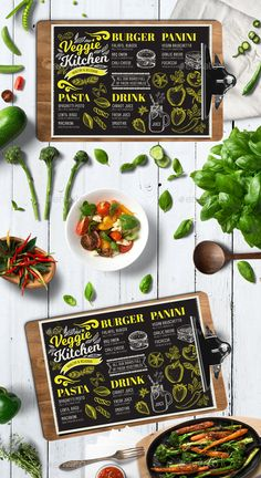 Vegan Food Menu by Marchiez Vegan Menu Restaurant Template Photoshop & Illustrator files CMYK 300 DPI Size – x bleed area Used Vegan Cafe, Vegan Menu, Healthy Menu, Vegan Recipes, Vegan Food, Vegetarian Menu, Food Menu Template, Restaurant Menu Template, Restaurant Menu Design