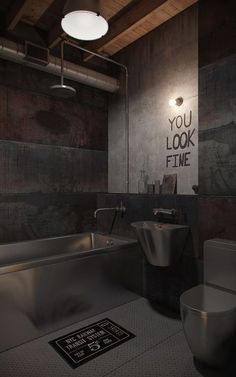 Architecture: Funky Industrial Loft Bathroom Design With Bulb Wall Lamp And Stainless Steel Bathtub With Water Faucet Also Shower: Charming Rustic Home Design with Nice Old Theme Industrial Bathroom Design, Industrial Interior Design, Vintage Industrial Decor, Industrial Living, Industrial House, Industrial Interiors, Industrial Chic, Industrial Apartment, Design Bathroom