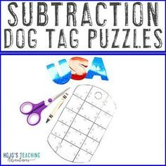 SUBTRACTION Dog Tag Puzzles | Veterans Day Math Activity or Center | 1st, 2nd, 3rd grade, Activities, Basic Operations, Games, Holidays/Seasonal, Homeschool, Math, Math Centers - Great to celebrate our military at any time of year!