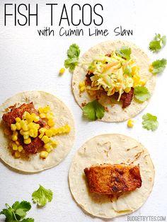 Fish Tacos with Cumin Lime Slaw - BudgetBytes.com
